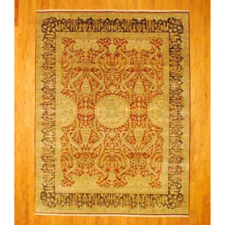 Indo Hand knotted Vegetable Dye Sarouk Rust/ Brown Wool Rug (89 x 11