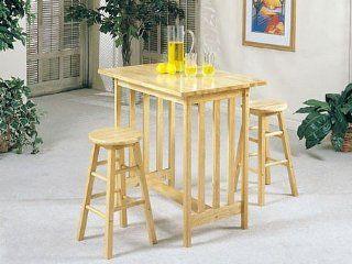 3pc Mission Style Wood Breakfast Bar Table & 2 Stools Set