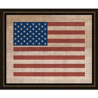 American Flag on Antique Burlap Wall Art