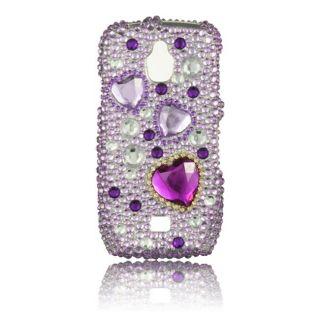 Luxmo Purple Heart Rhinestone Protector Case for Samsung Exhibit 4G