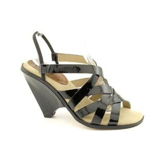Ellen Tracy Raven Open Toe Wedge Sandals Shoes Black Womens