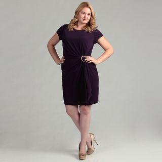 Ellen Tracy Womens Amethyst Gathered Dress