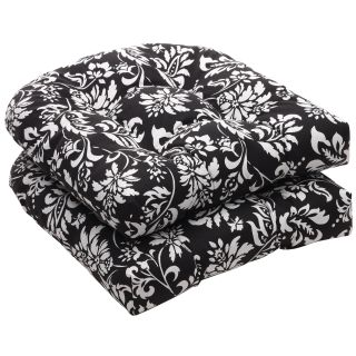 Pillow Perfect Outdoor Black/ White Floral Wicker Seat Cushions (Set