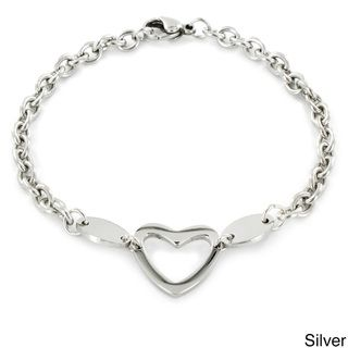 Stainless Steel Polished Heart Cut out Charm Bracelet