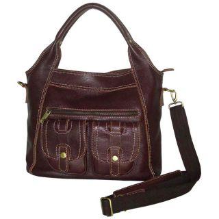 Amerileather Elizabeth Two pocket Leather Tote Bag
