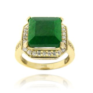Glitzy Rocks Gold over Silver Lab created Emerald and Cubic Zirconia