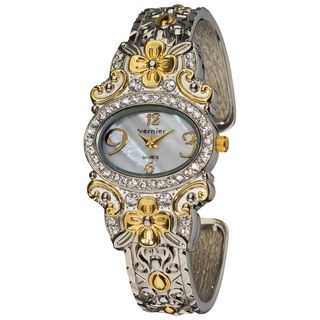 Vernier Womens Dazzling Two Tone Flower Pattern Bangle Watch