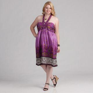 Meetu Magic Womens Plus Size Floral Halter Dress