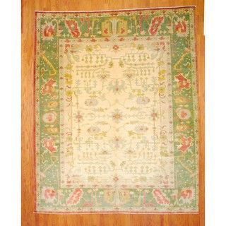 Egyptian Hand knotted Oushak Ivory/ Green Wool Rug (10 x 123