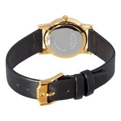 Movado Womens Museum Moderna Black Leather Strap Watch