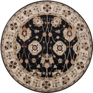 Area Rug 4x4 Round Traditional Black Gold Color   Surya