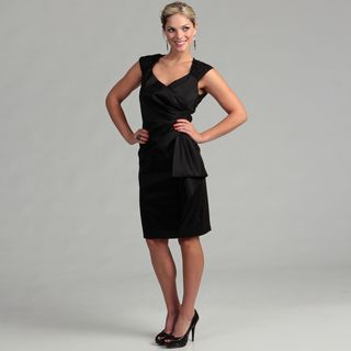 Marina Womens Black Taffeta V neck Lace Dress