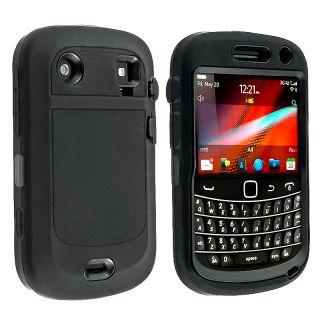 Black TPU/ Black Plastic Hybrid Case for BlackBerry Bold 9900/ 9930