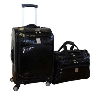 Jenni Chan Bows Black 2 piece Carry on Spinner Luggage Set