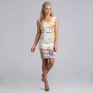 London Times Womens Floral Print Belted Sheath Dress