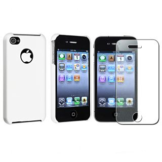 White Snap on Case/ Screen Protector for Apple iPhone 4S