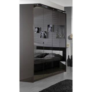 GREY Armoire 4 portes avec miroir   Achat / Vente ARMOIRE DE CHAMBRE