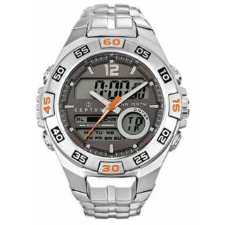 Certus Paris Mens Stainless Steel Grey Digital Dial Watch