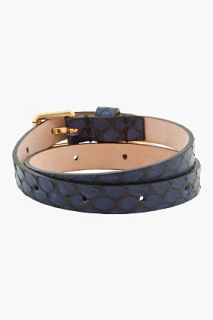 Alexander McQueen Blue Antique Gold And Crystal Skull Charm Bracelet for men