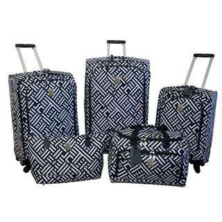 Jenni Chan Signature Black/White 5 piece Spinner Luggage Set