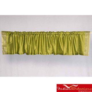 Olive Green Sari Fabric Decorative Valances (India) (Pack of 2