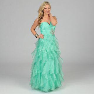 Morgan & Co Juniors Mint Strapless Ruffled Long Gown