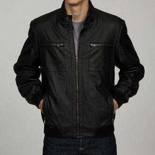 Izod Mens Faux Leather Bomber Jacket