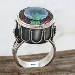 Sterling Silver Round Mystic Fire Topaz Detailed Band Ring (Indonesia