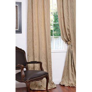 Crete Beige Faux Silk Jacquard 120 inch Curtain Panel