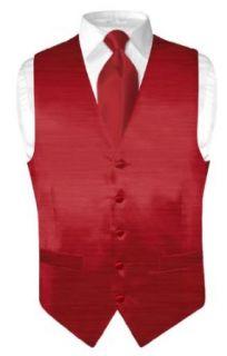 Biagio Mens Solid Dark Red BAMBOO SILK Dress Vest NeckTie