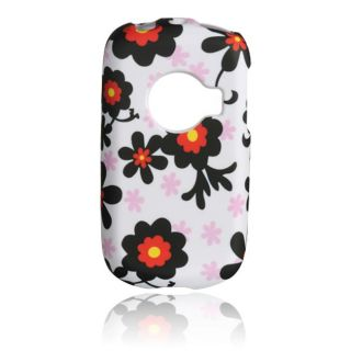 Luxmo Huawei M835 Black Daisy Rubber Coated Case