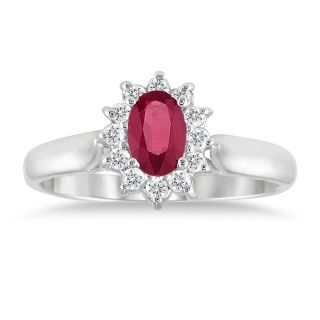 10k White Gold Ruby and 1/5ct TDW Diamond Fashion Ring (J K, I1 I2