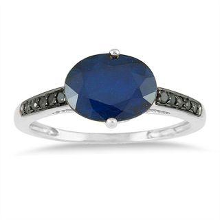 10k White Gold Sapphire and 1/10ct TDW Black Diamond Ring