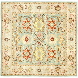 Handmade Treasures Light Blue/ Ivory Wool Rug (8 Square)