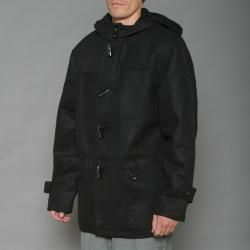 Imperious Mens Black Wool blend Hooded Toggle Coat