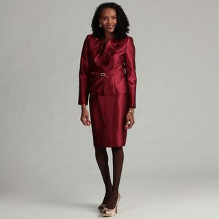 Kasper Womens Crimson 2 piece Ruffled Skirt Suit
