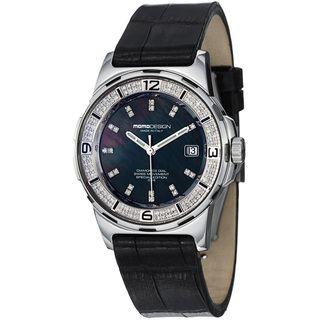 Momo Design Womens Pilot Lady Black Diamond Dial Black Strap Watch