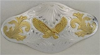 EXTRA LARGE GERMAN SILVER EAGLE BELT BUCKLE (6 3/4 X 3 3