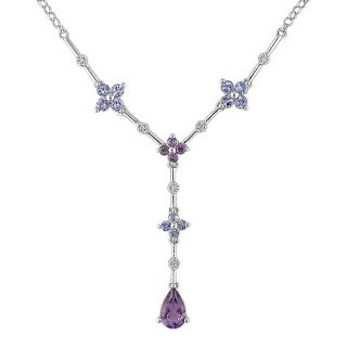 14 kt White Gold Diamond and Multi gemstone Necklace
