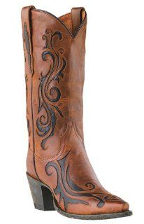 Dan Post Womens 12 Inch Brandy Scroll Leather Boots  DP3256 Shoes