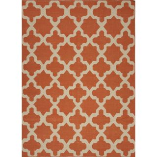 Handmade Flat Weave Geometric Red/ Orange Wool Rug (36 x 56) Today