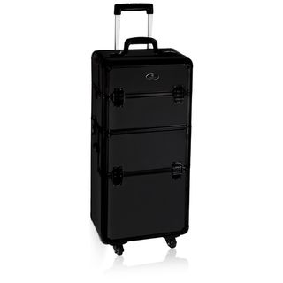 Shany Jet Black Professional Slim Design Rolling Makeup Case