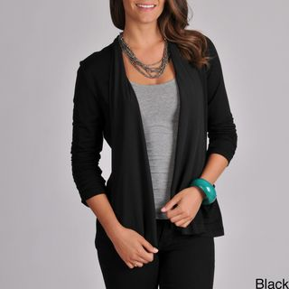Grace Elements Womens Ruched Sleeve Draped Cardigan