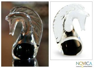 Hand blown Black Crystal Seahorse Paperweight (Brazil) Today $27.49
