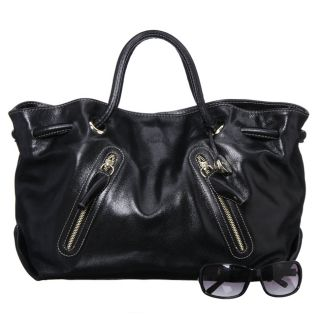 Furla Carmen Double Strap Extra large Black Handbag
