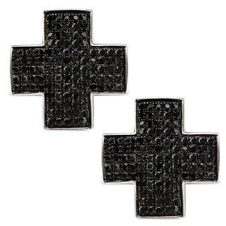 10k White Gold 1ct TDW Black Diamond Cross Earrings