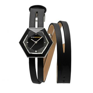 BCBG Maxazria Womens Prism Double Wrap Leather Watch