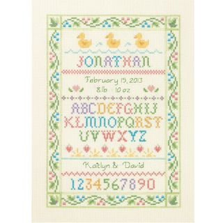 Alphabet Sampler Birth Record Counted Cross Stitch Kit 9X12 14 Count