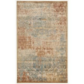 Graphic Illusions Light Gold Antique Damask Pattern Rug (23 x 39