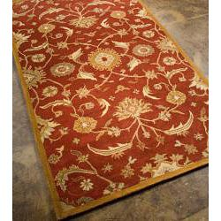 Planta Hand tufted Red/ Gold Wool Rug (96 x 136)